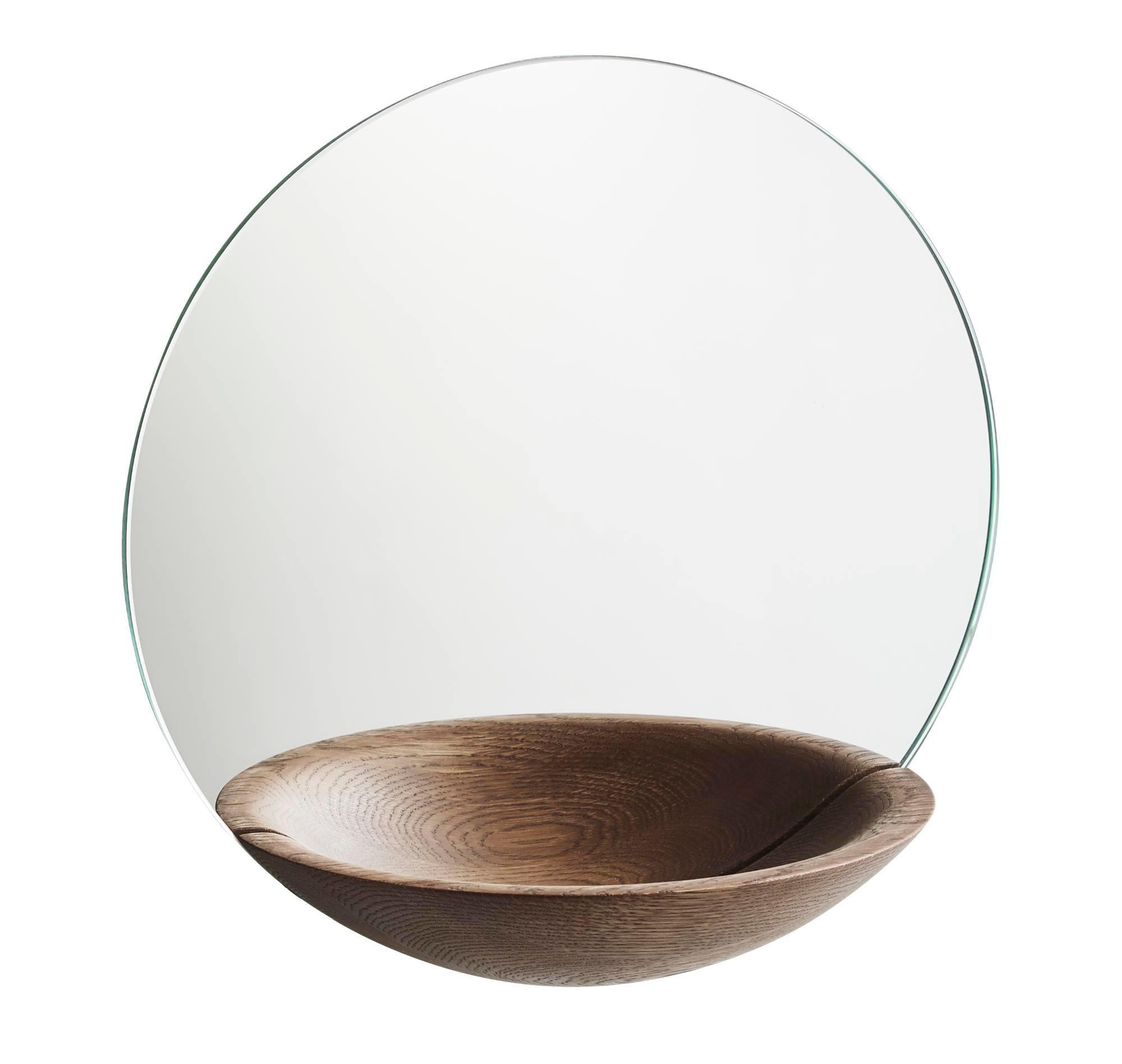 Pocket Mirror Wall mirror Large Woud-oak smoky