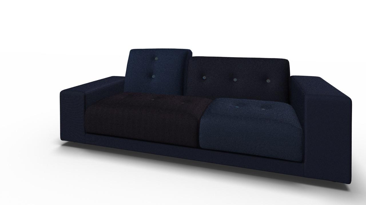 Polder Compact Sofa Night blue Low Armrest right Sitting left Vitra