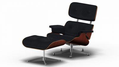 Eames Lounge Chair & Ottoman Armchair Premium nero / Walnut black pigmented / Polished Vitra SINGLE PIECE