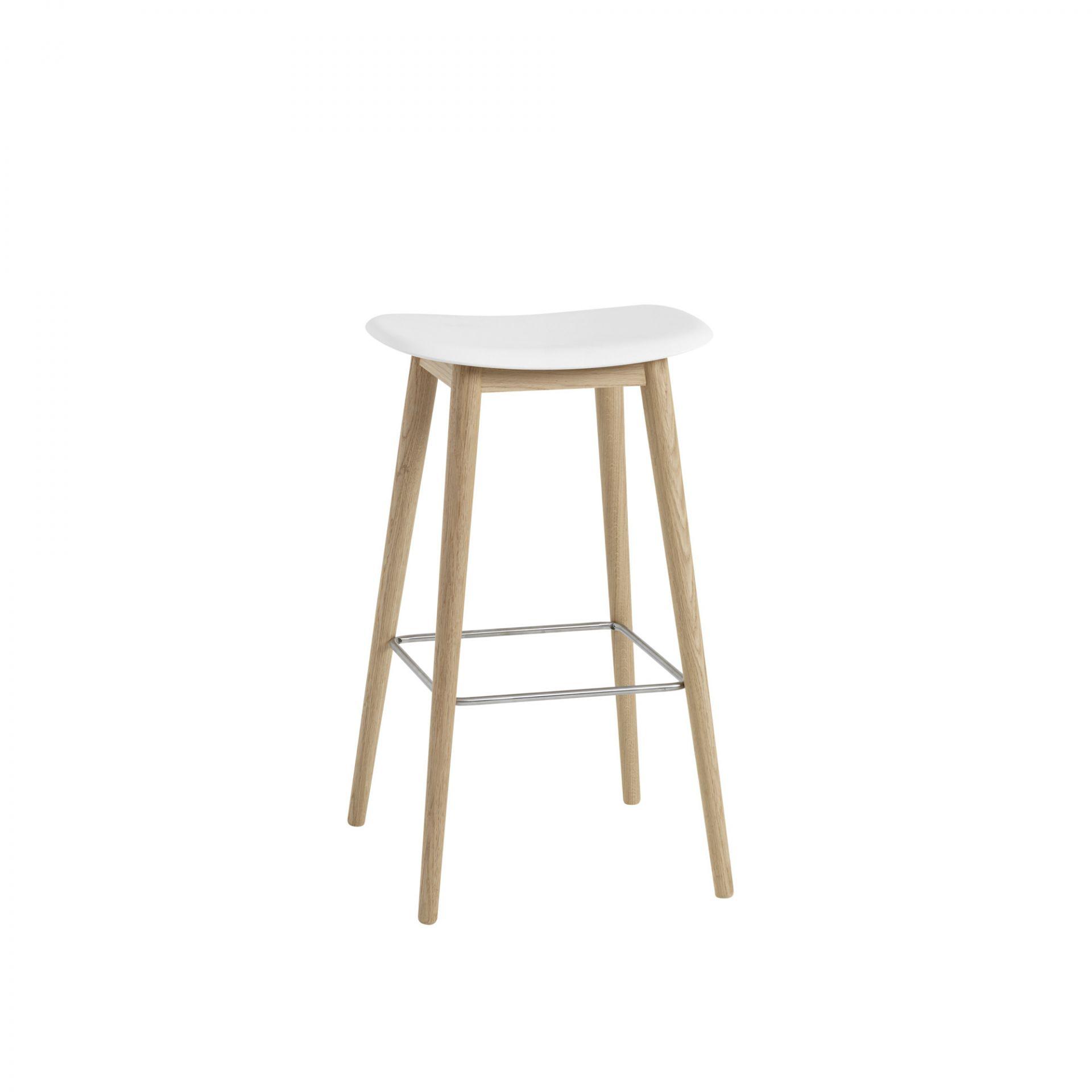 Fiber Bar Stool 75 cm wooden white / oak Muuto Nature