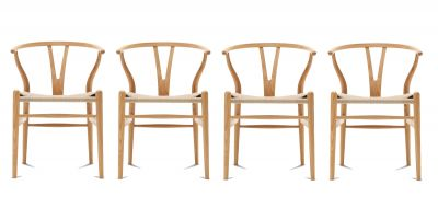 CH24 Wishbone Chair / Y-Chair Oak oiled 4-er Set Carl Hansen